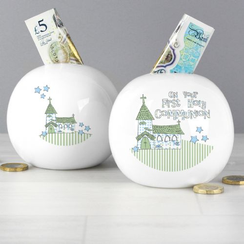 Blue First Holy Communion Church Design Money Box Gift Keepsake